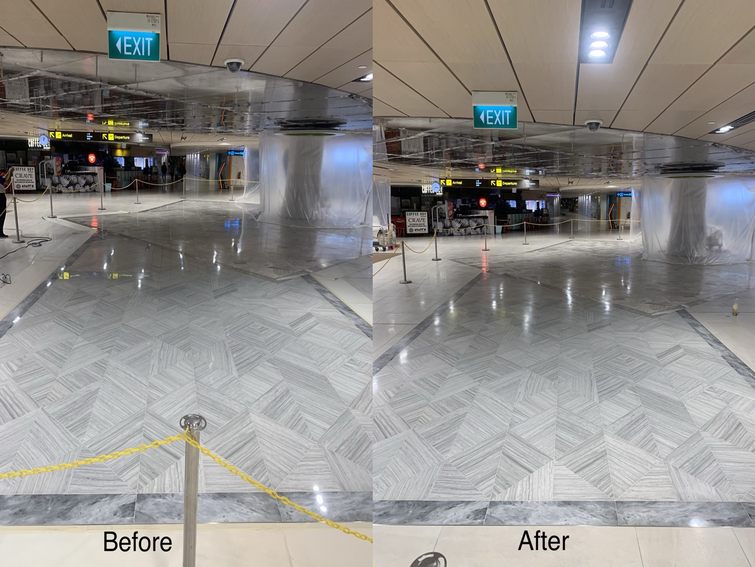 Changi Airport T3 marble floor